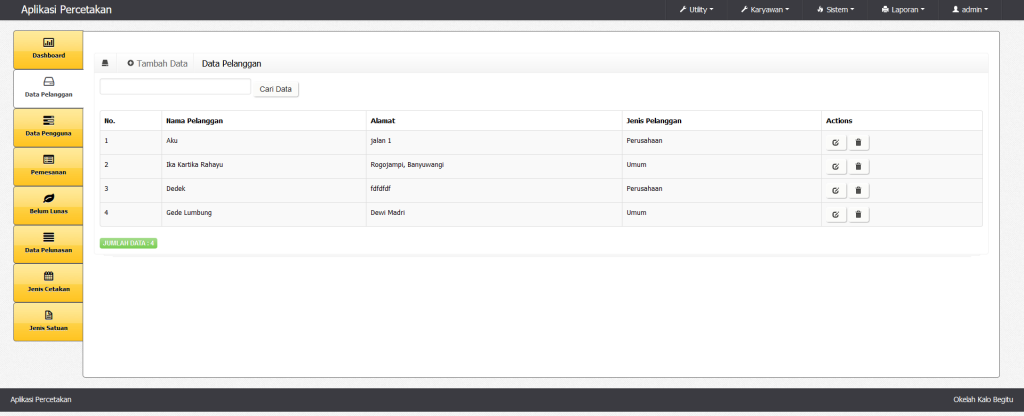 Download Aplikasi Percetakan Gratis Basis Web PHP