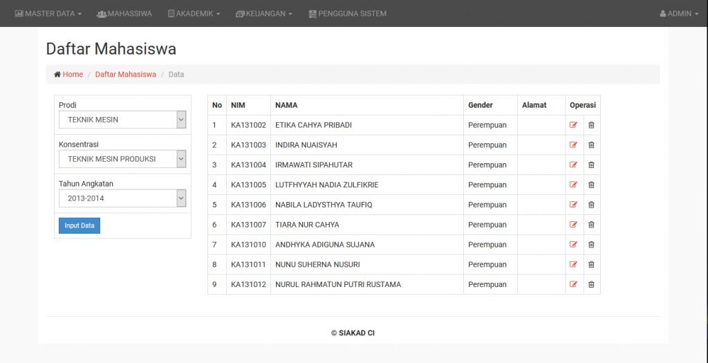 Download Source Code SI Akademik Gratis PHP Codeigniter