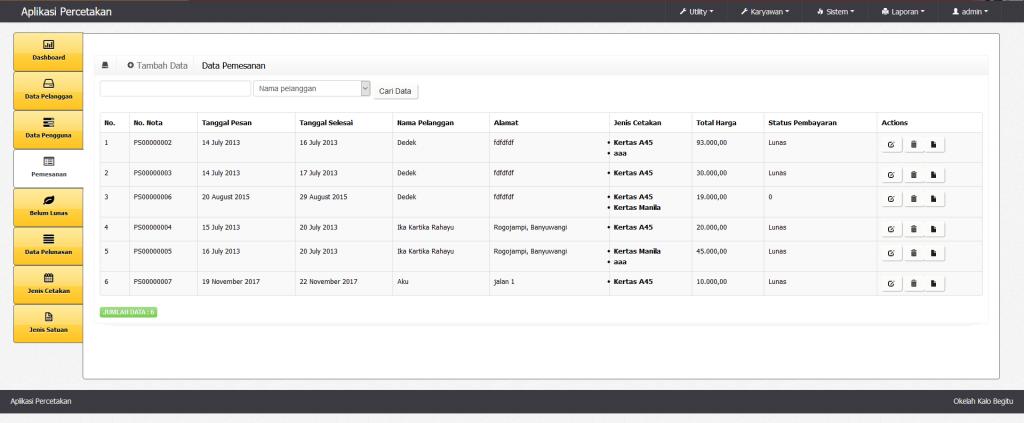Aplikasi Percetakan Gratis Basis Web PHP