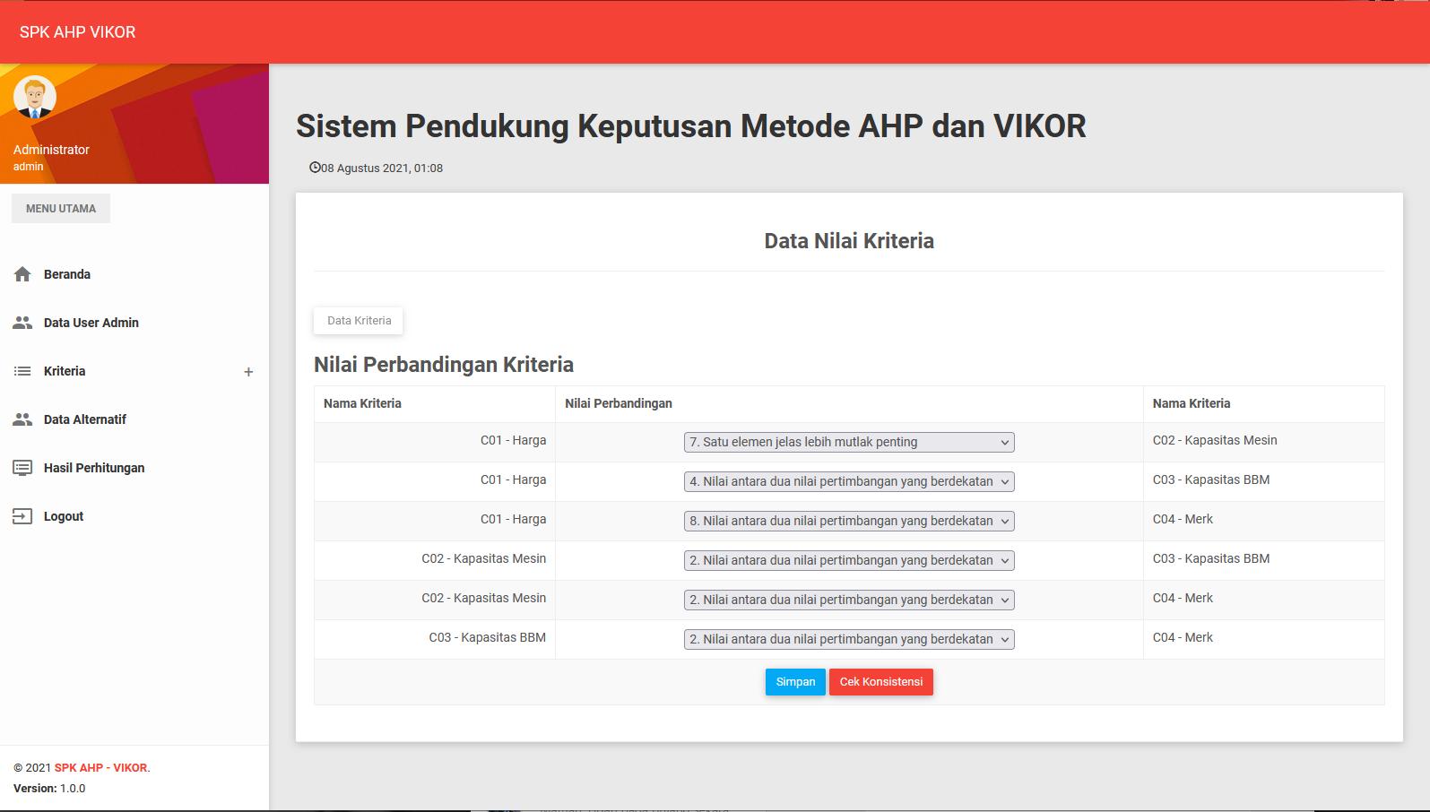 Aplikasi AHP-VIKOR Basis Web PHP Mysql